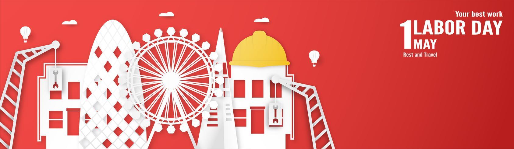 Buona festa del lavoro il 1 ° maggio di anni. Disegno del modello per banner, poster, copertina, pubblicità, sito Web. Vector l'illustrazione nello stile del taglio e del mestiere di carta su priorità bassa rossa.