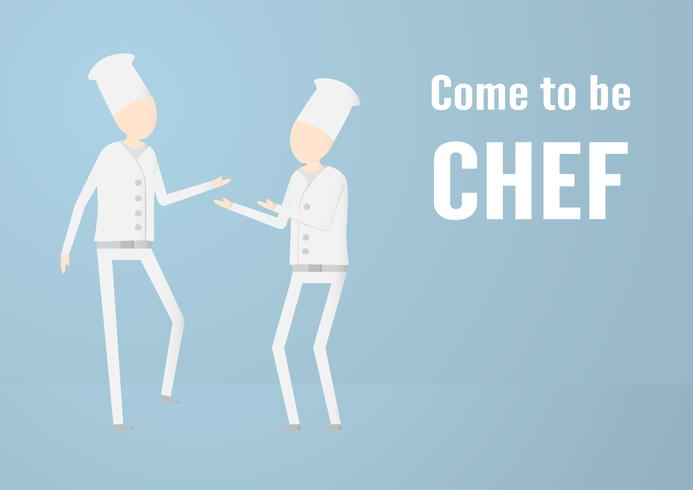 Karakterontwerp van chef-kok die spreekt geïsoleerd op blauwe achtergrond met exemplaarruimte. vector