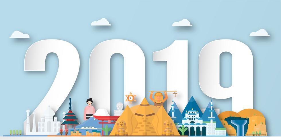 Bonne année 2019 avec le meilleur monument mondialement connu pour voyager. Illustration vectorielle en papier découpé et artisanat numérique avec style minimalisme.