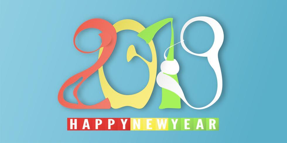 Frohes Neues Jahr 2019 mit auf blauem Hintergrund. Vektorillustration mit Kalligraphiedesign der Zahl im Papierschnitt und in der digitalen Handwerksart. vektor