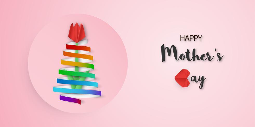 Template-Design für den glücklichen Muttertag. Vektorillustration im Papierschnitt und in der Handwerksart. Dekorationshintergrund mit Blumen für Einladung, Abdeckung, Fahne, Reklameanzeige.