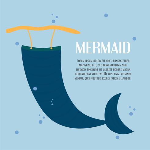 Charakter des Meerjungfrauschwanzes im blauen Meer. Vektorillustrationsdesign in der flachen Art mit Kopienraum für Text.