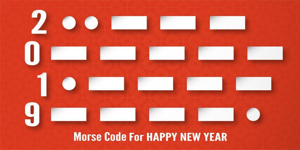 Decoração do ano novo feliz 2019 no fundo vermelho. Vector a ilustração com projeto da caligrafia do número de código Morse no corte de papel e no ofício digital.