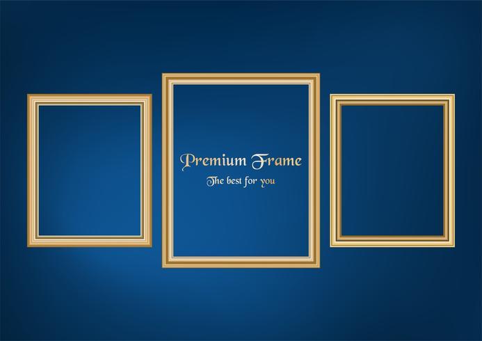Satz des dekorativen Rahmenbildes mit Goldgrenze, Vektordesign auf blauem Hintergrund mit Kopienraum im erstklassigen Konzept.