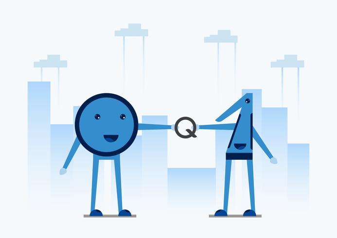 Disegno del personaggio nel concetto di Quantum Computing. Illustrazione vettoriale sulla tecnologia del futuro del sistema informatico per banner web, creatore mascotte, copertina e modello.