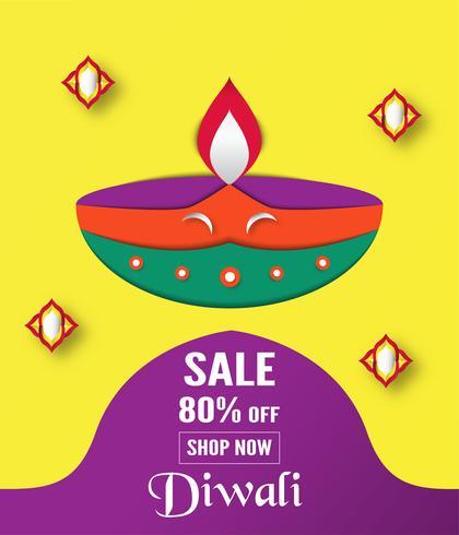 Diwali is festival van lichten van Hindoes voor uitnodigingsachtergrond, Webbanner, reclame. Vector illustratieontwerp in gesneden document en ambachtstijl.