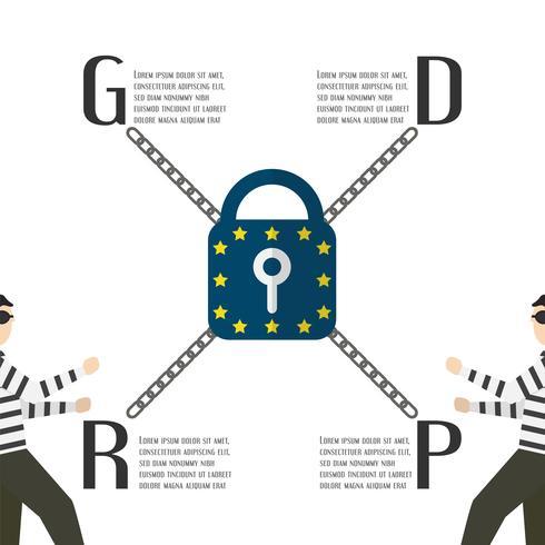 Tecken design med GDPR koncept isolerad på vit bakgrund. Vektor illustration med text utrymme.