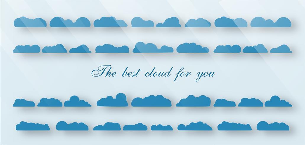 Insieme della migliore nuvola isolato su sfondo blu con lo spazio e la luce del testo.