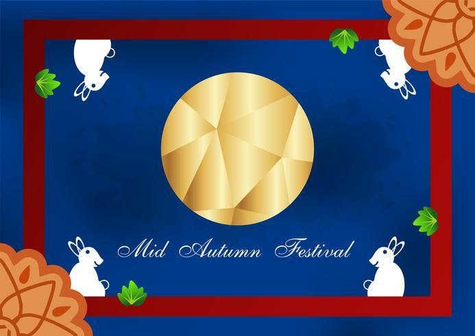 Festival de mediados de otoño para los chinos en diseño plano. Vector la ilustración en fondo azul con la luna, conejo, mooncakes.
