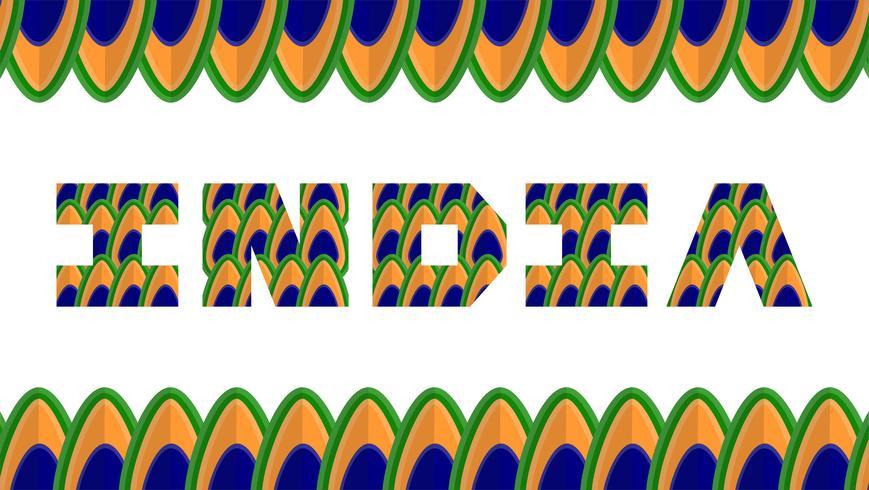 Gelukkige Onafhankelijkheidsdag van het land van India en Indische mensen met. Vector illustratie met de kleuren van de pauw.