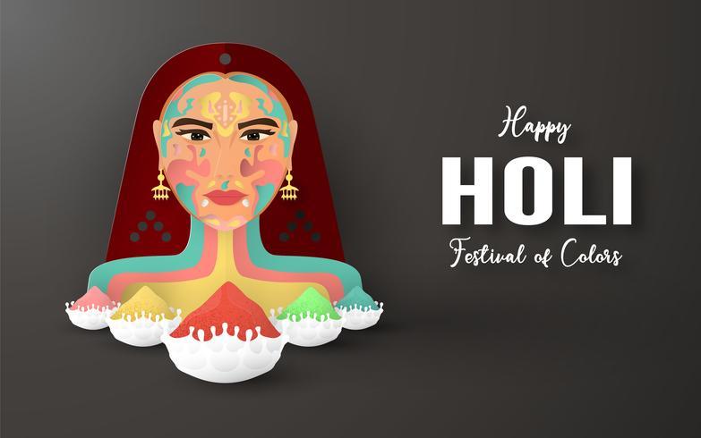 Feliz Holi, Festival de los Colores. Diseño de elementos de plantilla para plantilla, banner, cartel, tarjeta de felicitación. Ilustración vectorial en papel cortado, artesanal, tipo origami con estilo plano laico. vector