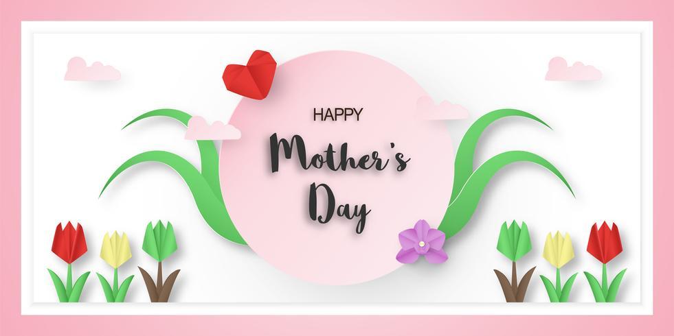 Malldesign för lycklig mors dag. Vektor illustration i pappersskärning och hantverk stil. Dekoration bakgrund med blommor för inbjudan, omslag, banner, annons.