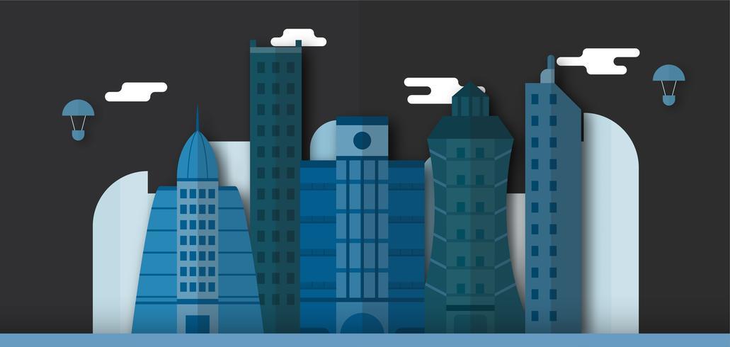 Pop-up-Design von städtischen Gebäuden und zukünftigen Stadt bei Nacht. Vektor-Illustration mit flachen Stil.