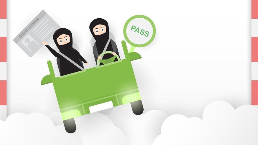 La mujer conduce un coche verde en Arabia Saudita en la nube. Adulto árabe obtener una licencia de conducir. Diseño de ilustración vectorial en estilo plano y corte de papel.