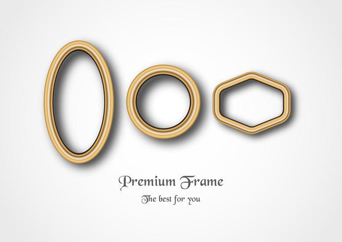 Set of golden frame on white background. vector