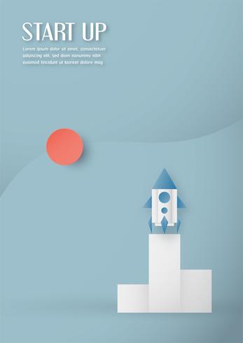 Vectorillustratie met start concept in papier knippen, ambachtelijke en origami stijl. Raket in de lucht.