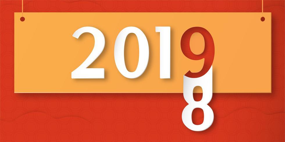 Felice anno nuovo 2019 con shodow di nuvola su sfondo rosso. Vector l'illustrazione con la progettazione di calligrafia del numero nel mestiere del taglio e digitale della carta. Il concetto mostra che ha cambiato l'anno di