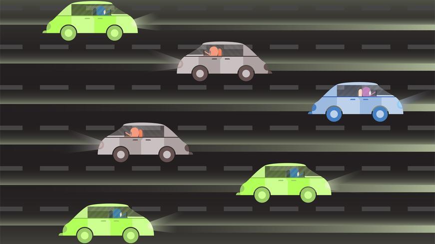Mulher dirige um carro verde na Arábia Saudita à noite. Ilustração vetorial com a cidade urbana, a lua e a estrela.