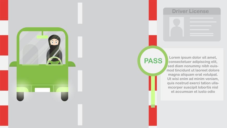 Mujer conduce un coche verde en Arabia Saudita en la noche. Ilustración de vector con ciudad urbana, la luna y la estrella.
