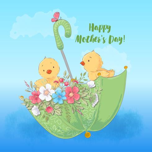 Illustration vykort eller fetisch för ett barnrum - söta kycklingar i ett paraply med blommor, vektor illustration i tecknad stil