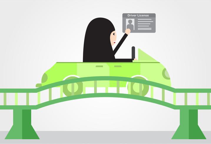 La mujer conduce un coche verde en Arabia Saudita en el puente. Adulto árabe obtener una licencia de conducir. Diseño de ilustración vectorial en estilo plano.