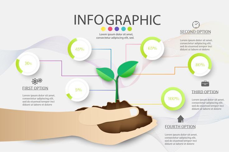 Élément de graphique infographique d'options de conception ou de modèle d'affaires de conception 6