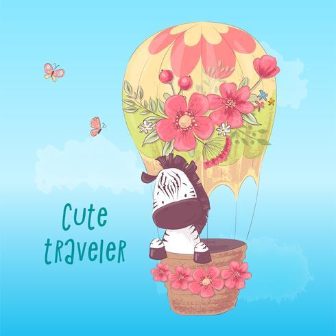Ilustración de una postal o fetiche para una habitación de niños - linda cebra en un globo, ilustración vectorial en estilo de dibujos animados