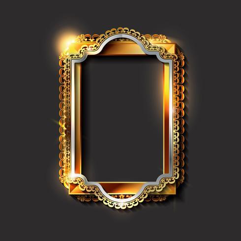 Decorative vintage golden frames and borders vector