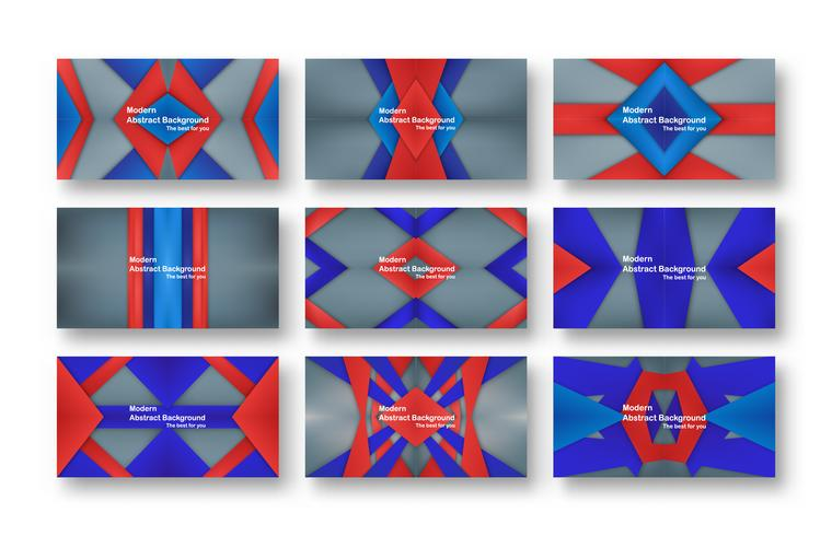 Progettazione materiale rossa e blu astratta su fondo grigio per la copertura, il modello, il web design e l'opuscolo. Illustrazione vettoriale con copia spazio per il testo.