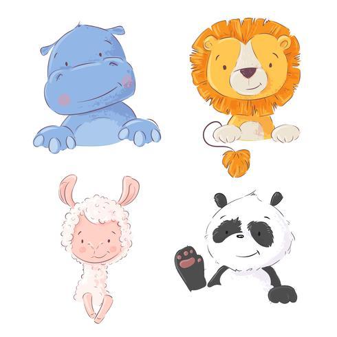 Set med söta tropiska djur flodhäst, lejon, llama och panda, vektor illustration i tecknad stil