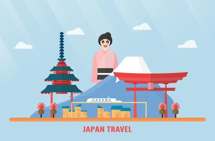 Thailandia, Udonthani - 07 agosto 2018: punti di riferimento del Giappone con il monte Fuji, il santuario di Itsukushima, il treno elettrico, il fiore di Sakura, la pagoda e la ragazza giapponese. Illustrazione vettoriale con cielo blu e nuvole.