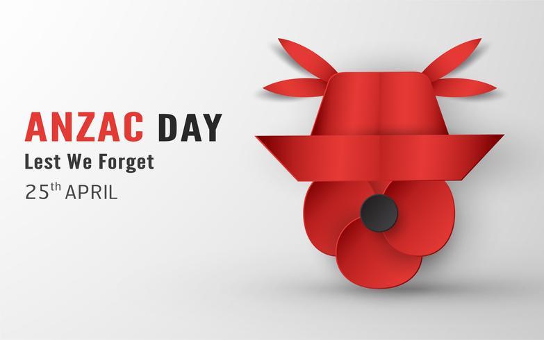 Buon Anzac Day il 25 aprile per chi ha prestato servizio ed è morto in Australia e in Nuova Zelanda. Modello elemento di design per banner, poster, auguri, invito. Illustrazione vettoriale in carta tagliata, stile artigianale.