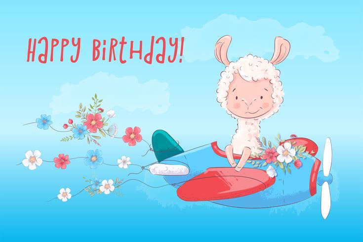 Ilustración de una tarjeta de felicitación o princesa para la habitación de los niños - Lama en un avión con flores, ilustración vectorial en estilo de dibujos animados vector