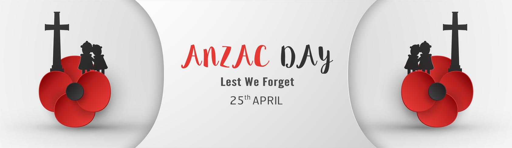 Feliz día de Anzac el 25 de abril por quien sirvió y murió en la guerra de Australia y Nueva Zelanda. Diseño de elementos de plantilla para banner, cartel, saludo, invitación. Ilustración vectorial en papel cortado, estilo artesanal.
