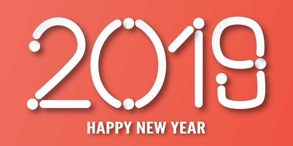 Feliz ano novo 2019 com fundo vermelho. Vector a ilustração com projeto da caligrafia do número no corte de papel e no estilo digital do ofício.