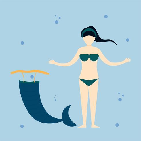 Carattere della ragazza sirena nel mare blu. Disegno di illustrazione vettoriale in stile piano.