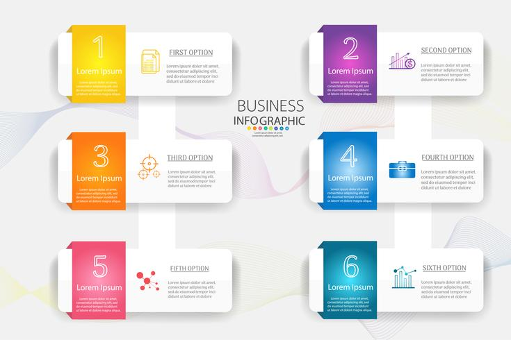 Ontwerpsjabloon Business 6 opties of stappen infographic grafiekelement