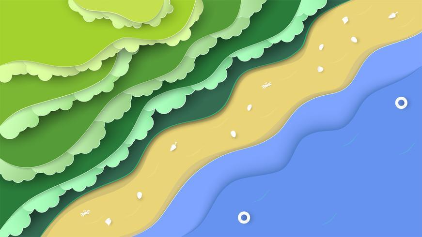 Utsikt över naturens skulptur med hav och strand. Landskapsbakgrund för världsmiljödagen den 5 juni. Vektorillustrator i pappersskärning, hantverk, origami.
