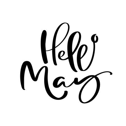 Hola mayo mano dibujado caligrafía texto y pincel pluma letras. Diseño para tarjeta de felicitación navideña e invitación de calendario estacional de vacaciones de primavera vector