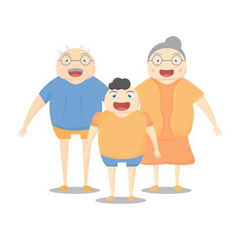 Familjaktivitet är smilling på vit bakgrund. Vektor illustration i platt design.
