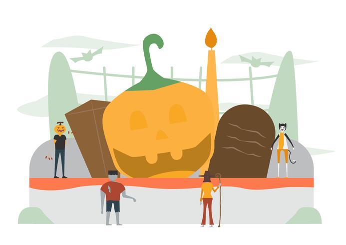 Minimale scène voor Halloween-dag, 31 oktober, met monsters die pompoenman, frankenstein, kat, heksenvrouw omvatten. Vectorillustratie geïsoleerd op witte achtergrond