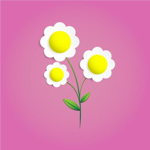 Flower Paper cut on pink background