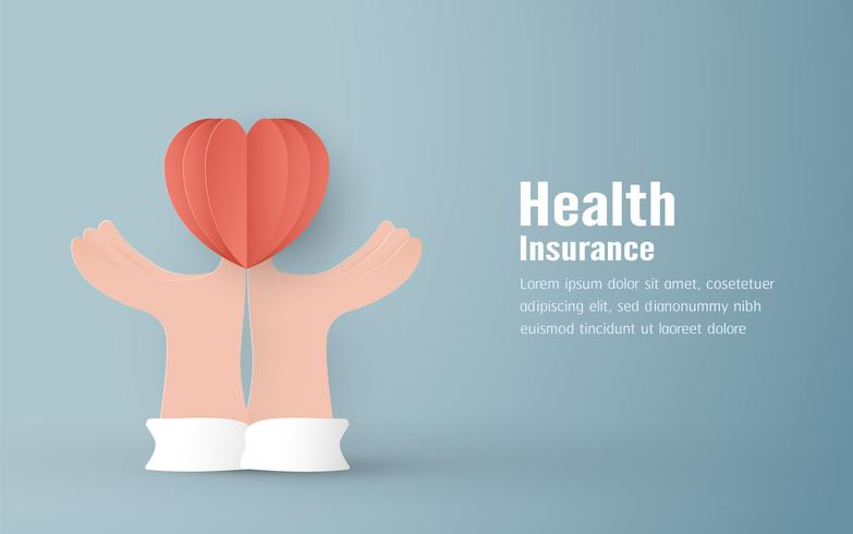 Ilustração vetorial no conceito de seguro de saúde. O projeto do molde está no fundo azul pastel no estilo do corte do papel 3D.