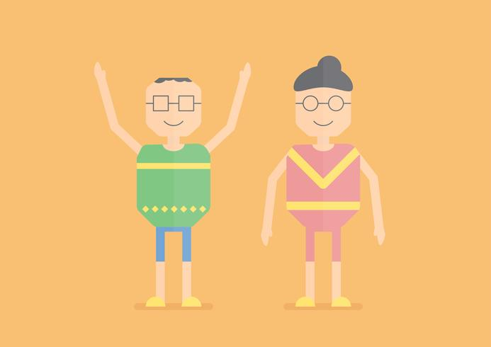 Character design of senior people that are exercising. Vector illustration desgn of the elder person isolated on orange background.