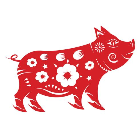 Pig zodiac. Chinese new year 2019 concept. Paper art and graphic design theme. vector