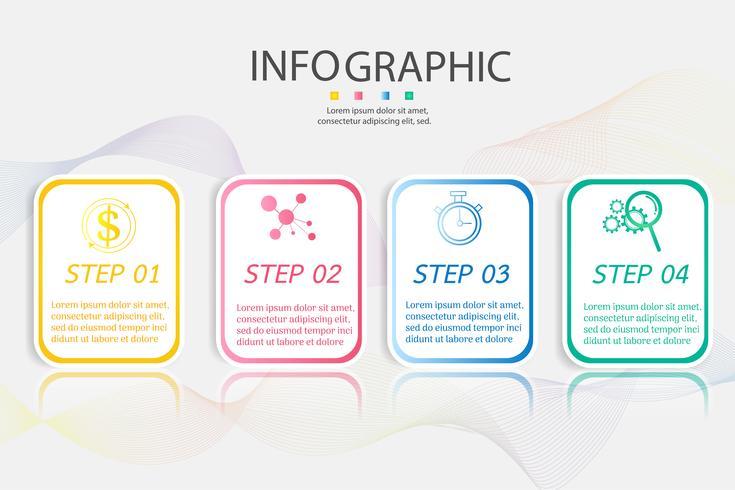 Modello di business design 4 opzioni o passaggi elemento grafico infografica