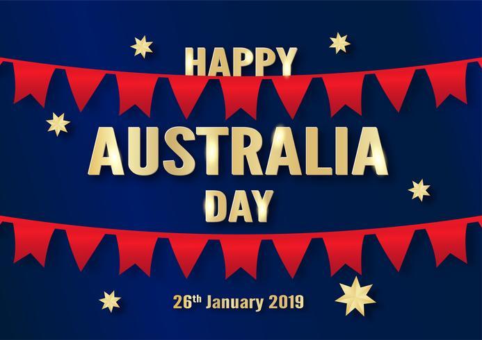 Feliz día de Australia el 26 de enero. Diseño de plantillas para cartel, tarjeta de invitación, banner, publicidad, flyer. Ilustración vectorial en papel cortado y estilo artesanal. vector