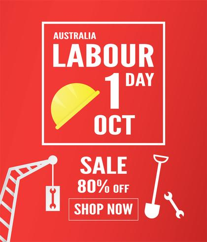 Banner background for Labor day, Austratlia, in 1 ottobre. Illustrazione vettoriale in carta tagliata e artigianato digitale.