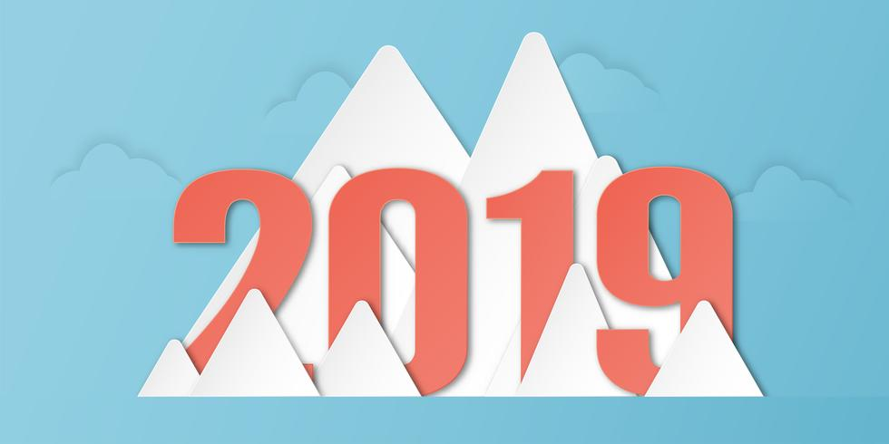 Gelukkige Nieuwjaar 2019 decoratie op blauwe achtergrond. Vectorillustratie met kalligrafieontwerp van aantal in document besnoeiing en digitale ambacht. Minimale stijl.