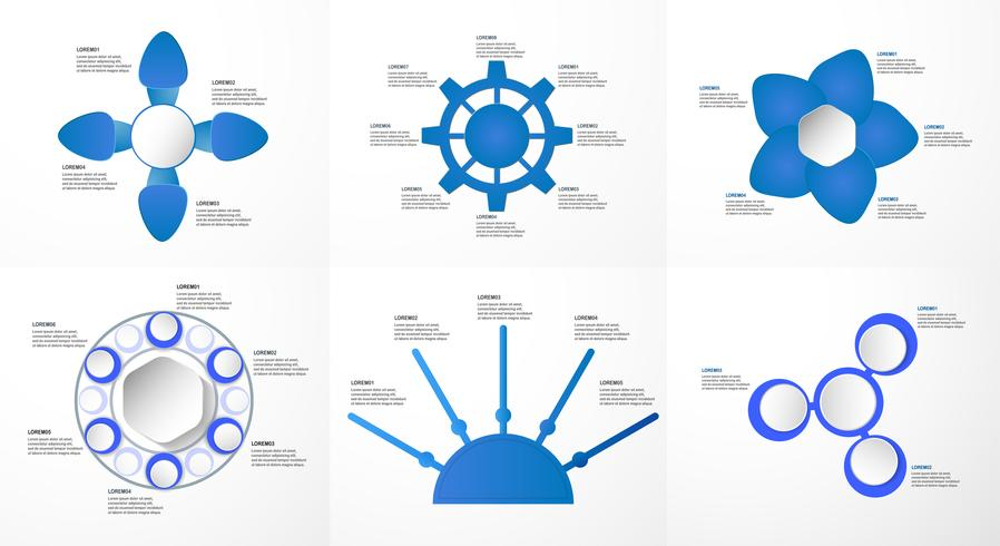 Satz blaue infographics Elemente mit Papierschnitt und digitalem Handwerk. Diagramme für Geschäftsdarstellung, Schablone, Netzfahne und Bewegungsgraphik mit Kopienraum für Text auf grauem Hintergrund.